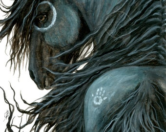 Majestic Horses - The Wild Side - Spirit Black Painted Black Horse Stallion Mustang Friesian Feathers - Prints by AmyLyn Bihrle mm107