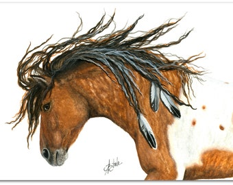 Majestic Horses -Wild Spirit Curly Horse Feathers- Prints by AmyLyn Bihrle mm97