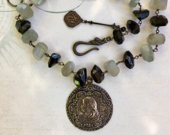 Fabulous French Joan of Arc Medal with Moonstone and Spinel Gemstones Necklace
