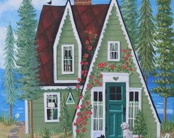 Spruce Cottage Folk Art Print