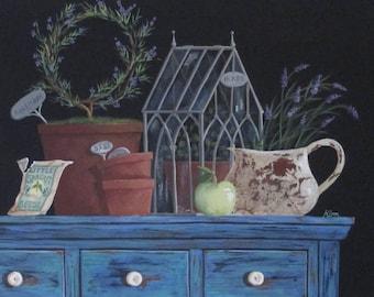 Folk Art Print~Fresh Herbs~Vintage Garden Still Life