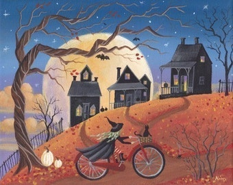 Haunted Hill Halloween Folk Art Print
