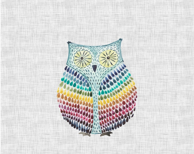 PANEL - Rainbow Owl - Organic Cotton/spandex European Jersey Knit