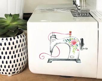 Vinyl Sticker - Floral Sewing Machine