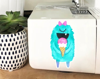 Vinyl Sticker - Aqua Ice Cream Monster