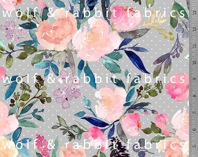 PREORDER - Grey Polka Dot Floral Fabric - Organic Euro Knit