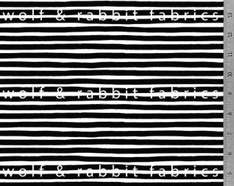 PREORDER - Mini Marker Stripe - Black - Organic Cotton/spandex Euro Knit