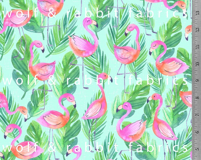 SALE - 20% OFF! Flamingo Fabric - 10oz cotton/lycra knit fabric - Summer Weight Knit - Milled and digitally printed in the USA