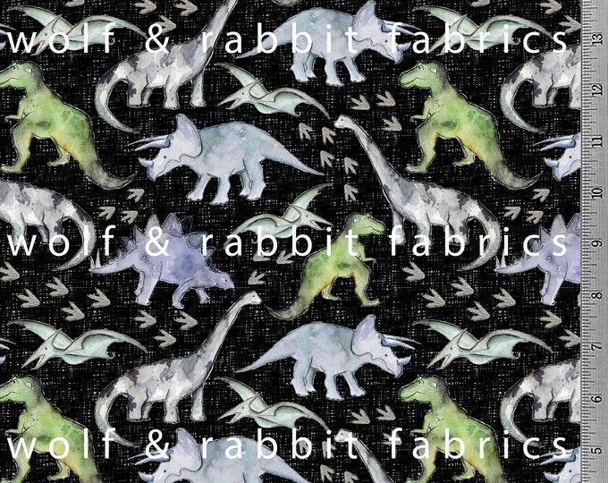 PREORDER - Watercolor Dinos - Black - Organic Euro Knit