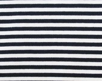 20% OFF Dark Navy & White Yarn Dyed Stripe - 10oz cotton/lycra knit fabric - 95/5 cotton/spandex jersey knit - 1/8 Inch Stripe - By The Yard