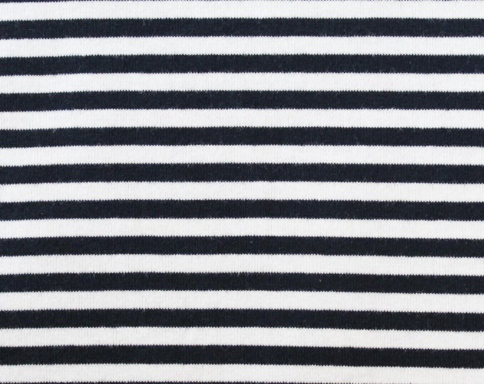 20% OFF Dark Navy & White Yarn Dyed Stripe - 10oz cotton/lycra knit fabric - 95/5 cotton/spandex jersey knit - 1/8 Inch Stripe - By The Yard