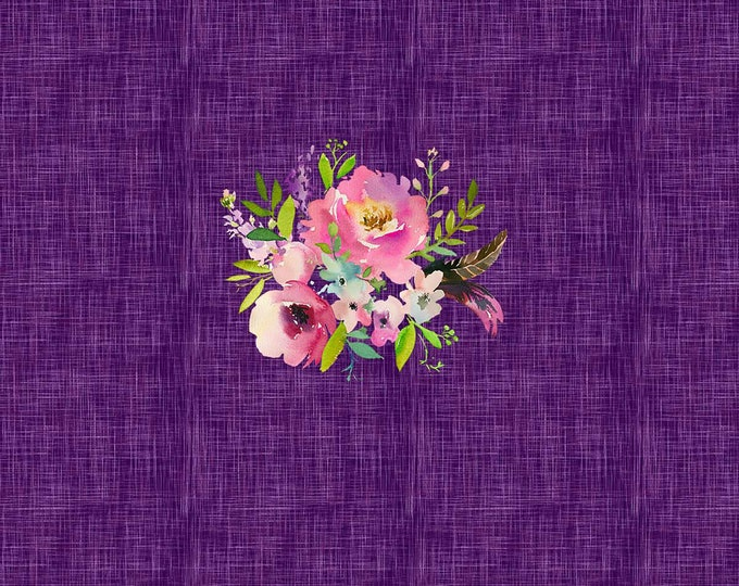 PANEL - Spring Bouquet - Purple - Organic Cotton/spandex European Jersey Knit