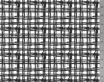 Darkest Grey Grid - 12oz cotton/lycra knit fabric - Milled and digitally printed in the USA - Shipping Mid-Late August