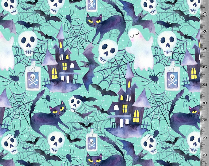 Haunted House - 12oz cotton/lycra knit fabric - Milled and digitally printed in the USA - Shipping Mid-Late August