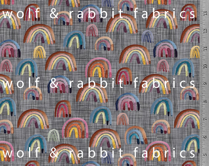 PREORDER - Jewel Tone Rainbows - Dark - Organic Cotton/spandex European Jersey Knit