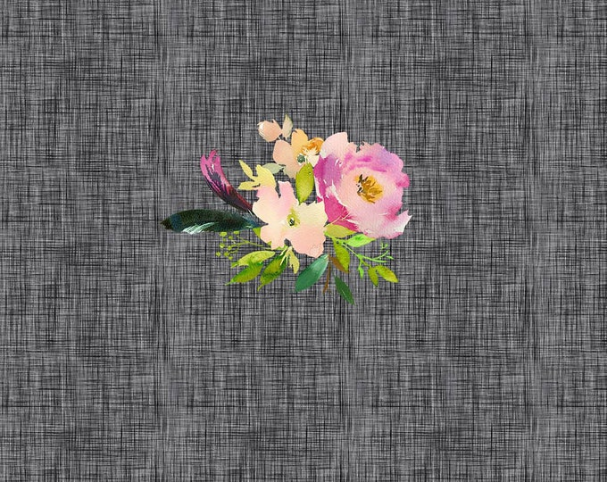 PANEL - Spring Bouquet - Charcoal - Organic Cotton/spandex European Jersey Knit