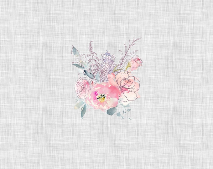 PANEL - Sweetheart Floral - Fog Grey