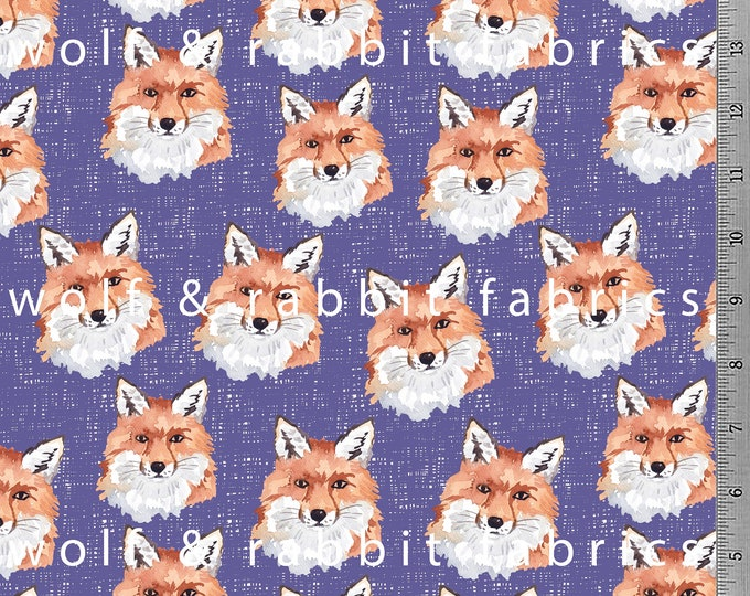 SALE - Purple Fox Fabric -  12oz cotton/lycra knit fabric - Milled and digitally printed in the USA