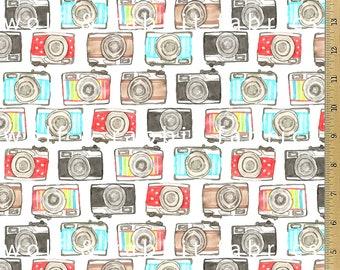 SALE - SALE - Watercolor Camera Fabric