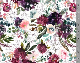 Burgundy Floral - Organic Euro Knit