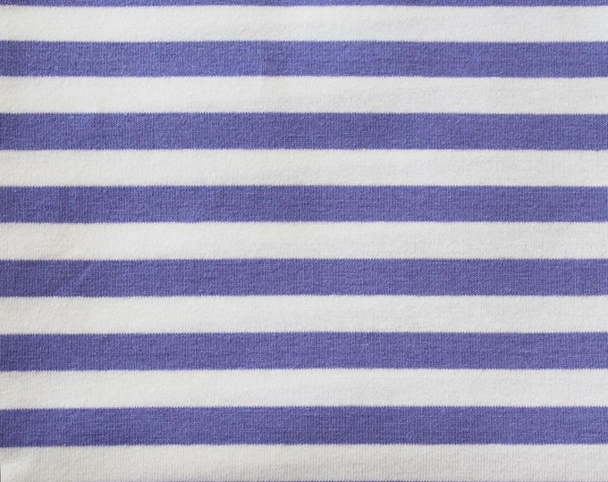 20% OFF! Lilac & White Yarn Dyed Stripe - 10oz cotton/lycra knit fabric - 95/5 cotton/spandex jersey knit - 3/8 Inch Stripe - By The Yard