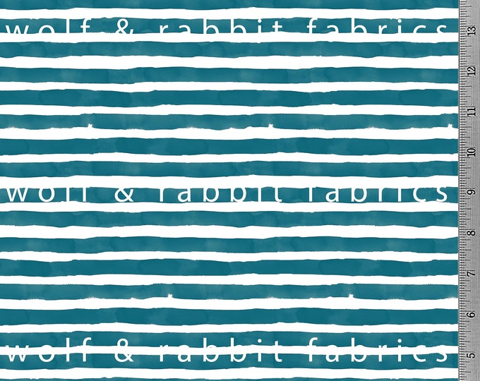 Teal Watercolor Stripe Fabric - 12oz cotton/lycra knit fabric - Milled and digitally printed in the USA