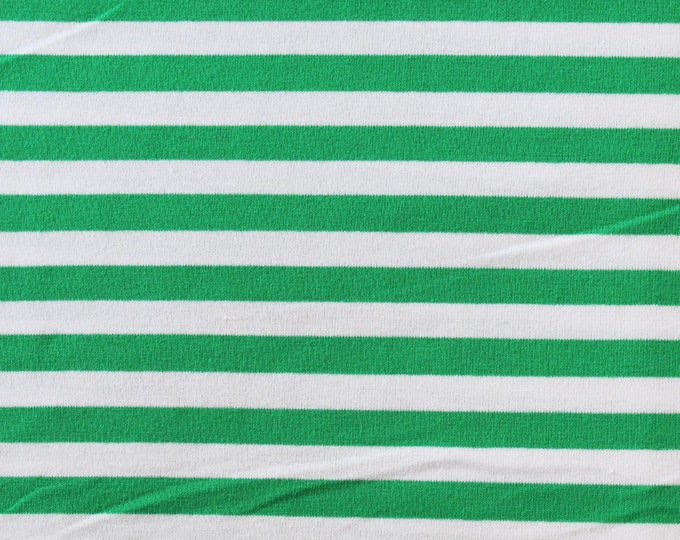 20% OFF Kelly Green & White Yarn Dyed Stripe - 10oz cotton/lycra knit fabric - 95/5 cotton/spandex jersey knit - 3/8 Inch Stripe