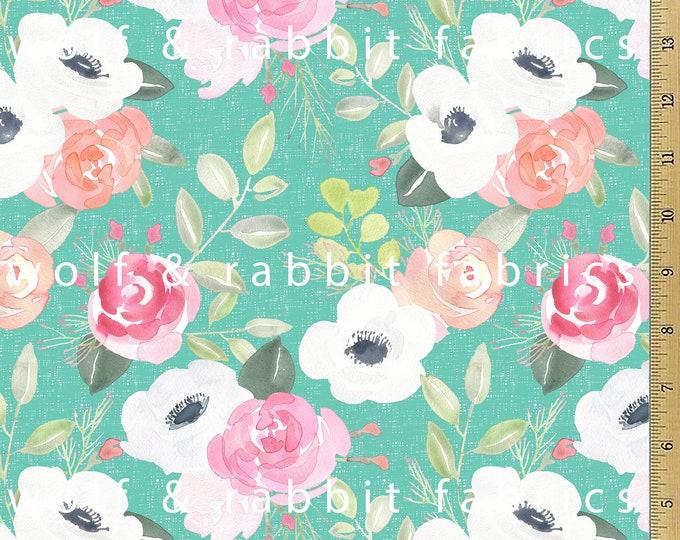 SALE - Aqua Watercolor Floral Fabric