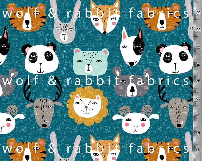 Animal Faces - Teal - Organic Cotton/spandex European Jersey Knit