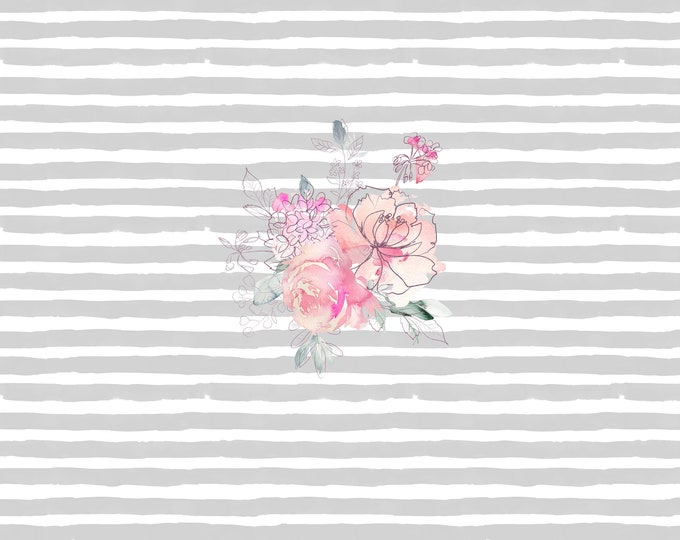 PANEL - Sweetheart Floral - Grey Stripes