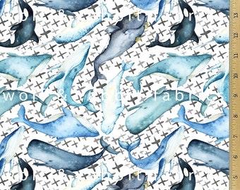 Watercolor Whale & Xs Fabric - Organic Euro Knit