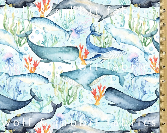 PREORDER -Watercolor Whales & Seaweed - Organic Euro Knit