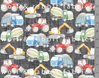 Construction Trucks - Organic Cotton/spandex European Jersey Knit