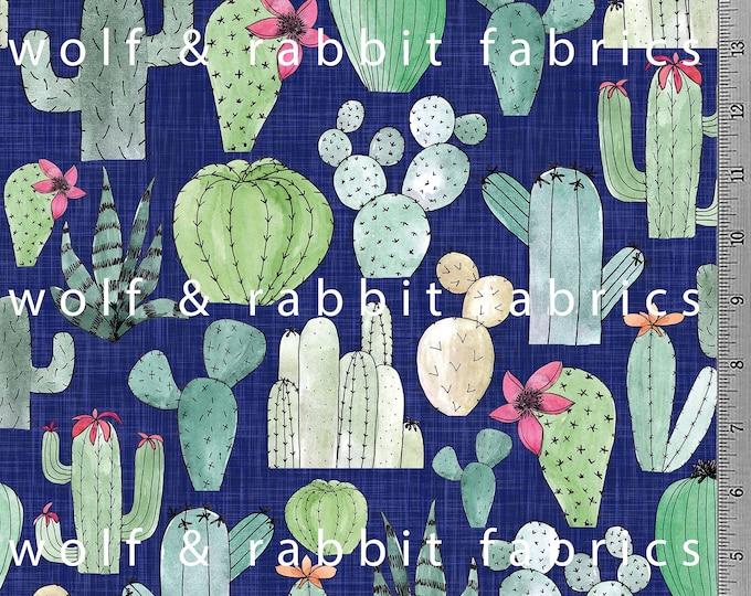PREORDER - Navy Cactus - Organic Cotton/spandex Euro Knit