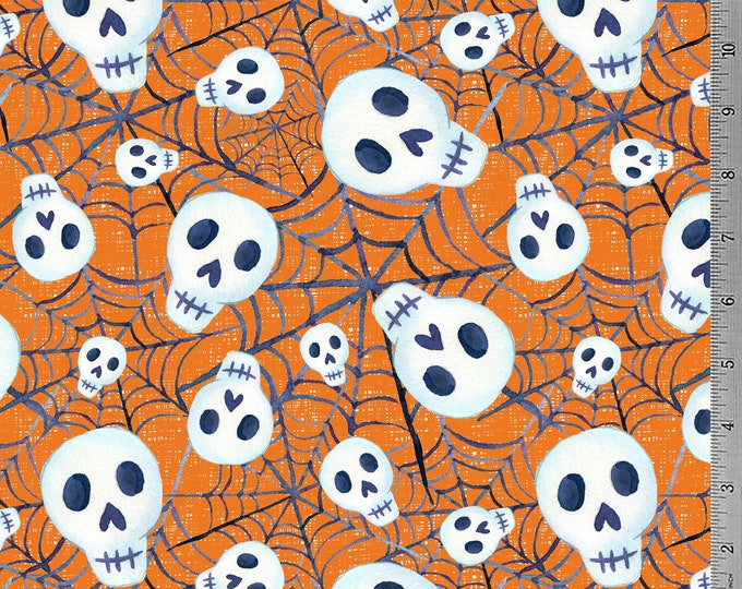 SALE - Skulls & Webs - Orange