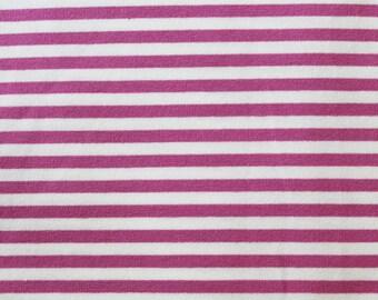 20% OFF Mauve & Off White Yarn Dyed Stripe - 10oz cotton/lycra knit fabric - 95/5 cotton/spandex jersey knit - 1/8 Inch Stripe
