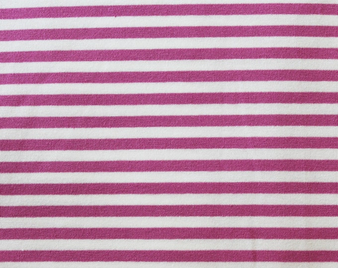 20% OFF Mauve & Off White Yarn Dyed Stripe - 10oz cotton/lycra knit fabric - 95/5 cotton/spandex jersey knit - 1/8 Inch Stripe