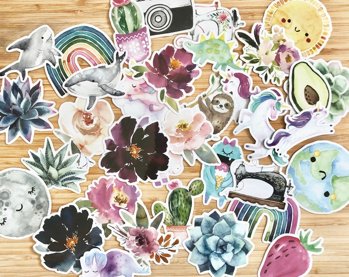 Vinyl Sticker - MYSTERY PACK - Waterproof Sticker Watercolor Sticker Floral Sticker Animal Sticker Cute Sticker Water bottle Sticker
