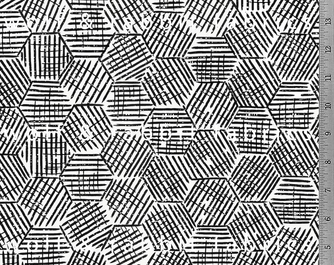 Black & White Hexagon Fabric - 12oz cotton/lycra knit fabric - Milled and digitally printed in the USA - By The Yard