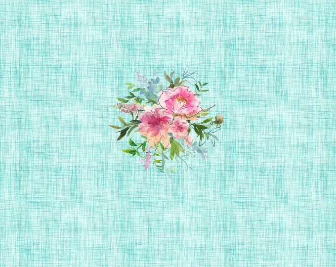 PANEL - Mint Gingham Floral - Printing Flaw
