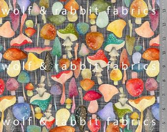 PREORDER - Mushrooms - Organic Cotton/spandex European Jersey Knit