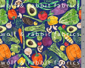 PREORDER - Watercolor Veggies - Navy  - Organic Euro Knit