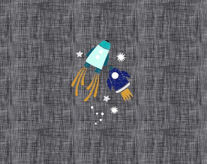 PANEL - Rocketships - Organic Cotton/spandex European Jersey Knit