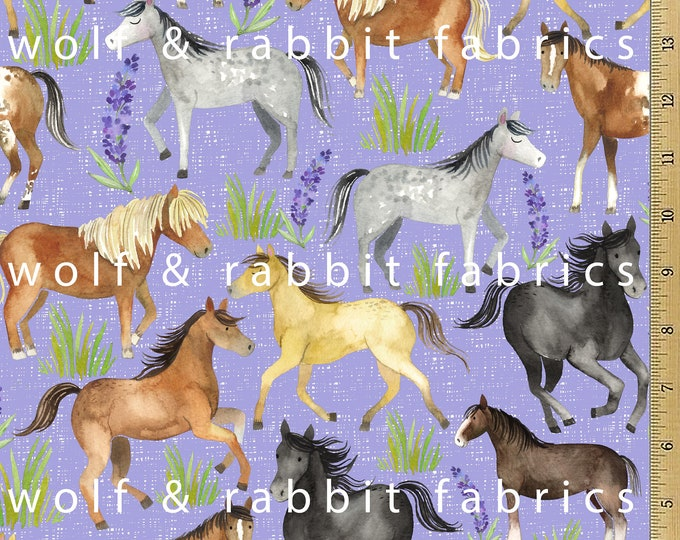SALE - Horse Fabric - Purple - 12oz cotton/lycra knit fabric - Milled and digitally printed in the USA