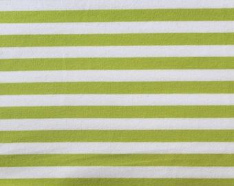 20% OFF Apple Green & White Yarn Dyed Stripe - 10oz cotton/lycra knit fabric - 95/5 cotton/spandex jersey knit - 3/8 Inch Stripe