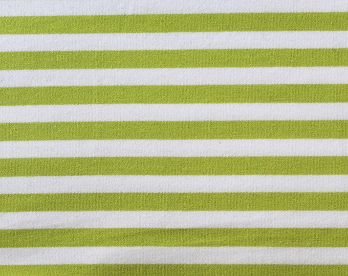 20% OFF Apple Green & White Yarn Dyed Stripe - 10oz cotton/lycra knit fabric - 95/5 cotton/spandex jersey knit - 3/8 Inch Stripe