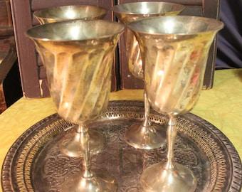 Vintage Silver Plated Wine Goblets Set of 4, Wedding Wine Goblets,  Silver Plated Goblets, Eclectic Wine Goblets Game of Thrones