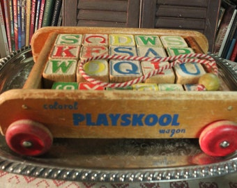 Vintage Playskool Wooden Colorol Wagon with pull string and vintage blocks