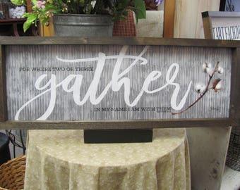 Cotton,Gather,Shadowbox Framed Sign,Cotton Stem,Marla Rae,Matthew 18:20,Handmade Frame,9x25