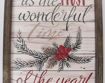 christmas signthe most wonderful time of the yearchristmas wall decor13x17cindy jacobsrustic shadowbox frame - Christmas Wall Decor